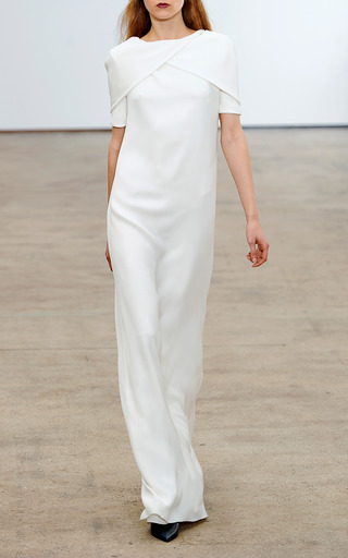 Medium derek lam white three ply georgette gown with cape overlay