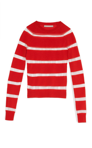 Medium jason wu red long sleeve striped crewneck