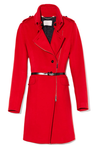 Medium jason wu red funnel neck belted coat with belt