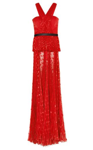 Medium jason wu red draped pleated halter top