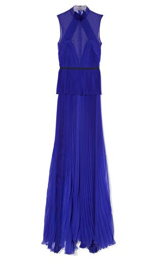 Medium jason wu purple draped pleated peplum gown
