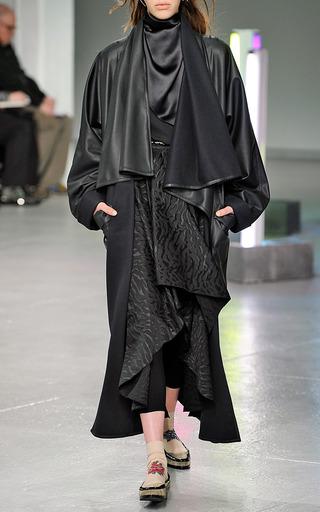 Black Pleather Draped Coat by RODARTE for Preorder on Moda Operandi