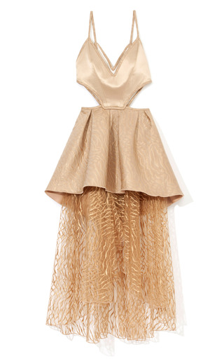Medium rodarte nude nude tiered harness cocktail dress