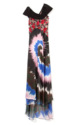 Medium rodarte multi rose embroidered printed tie dye evening gown