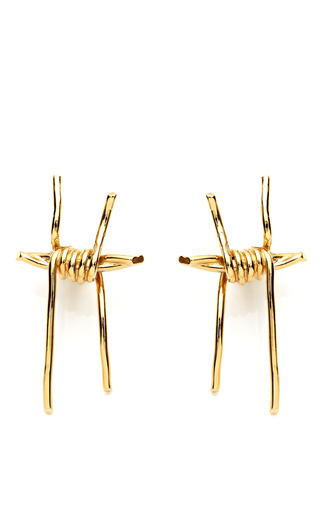 Medium rodarte gold gold barbed wire earrings