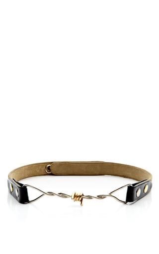 Medium rodarte multi tan suede twisted barbed wire belt