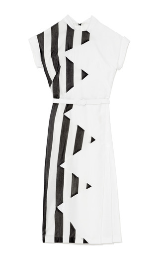 Medium l wren scott white large striped voile dress