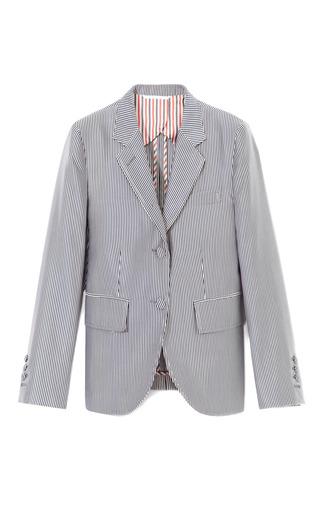 Medium thom browne white silk blend striped shrunken blazer