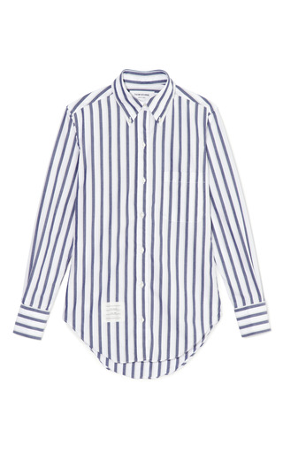 Medium thom browne white classic shirt in thick stripe poplin