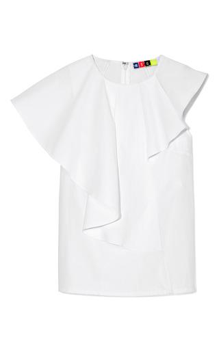 Medium msgm white cotton poplin cascading ruffle blouse