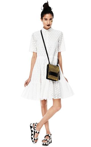 Medium msgm white white cotton dress