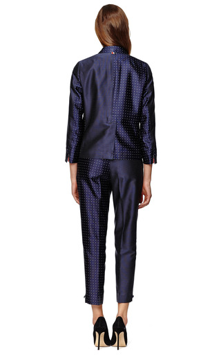 Skinny Trouser In Navy With White Dots by THOM BROWNE Now Available on Moda Operandi