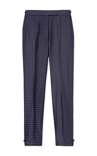 Medium thom browne white skinny trouser in navy with white dots