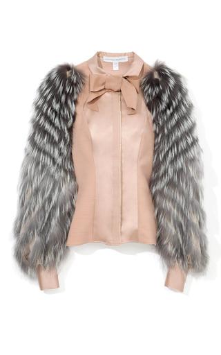 Medium carolina herrera pink wool and silk mikado blouse with fox fur sleeves