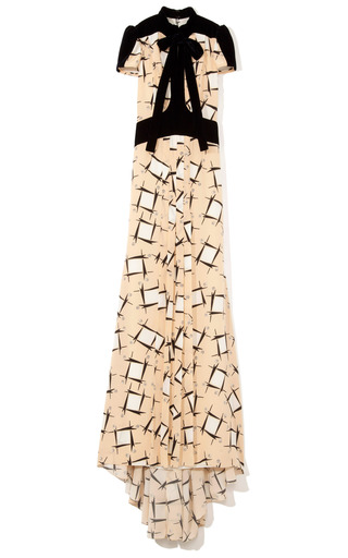 Abstract Houndstooth Twill Gown by CAROLINA HERRERA for Preorder on Moda Operandi