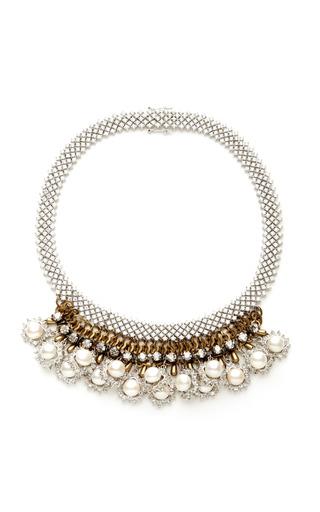 Medium venna multi silver crystal and pearls necklace