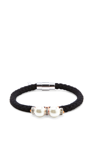 Double Glass Bead And Rhinestone Rope Bracelet by VANITIES Now Available on Moda Operandi
