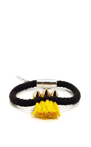 Triple Spike & Raffia Rope Bracelet by VANITIES Now Available on Moda Operandi