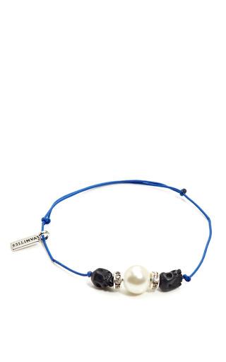 Skull Rhinestone Glass Bead String Bracelet by VANITIES Now Available on Moda Operandi