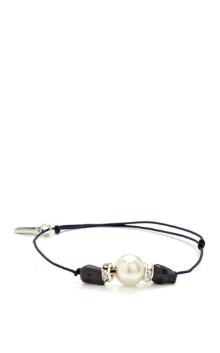 Medium vanities navy skull rhinestone glass bead string bracelet