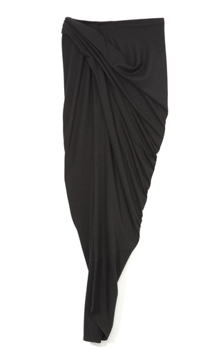 Medium donna karan black draped sarong skirt