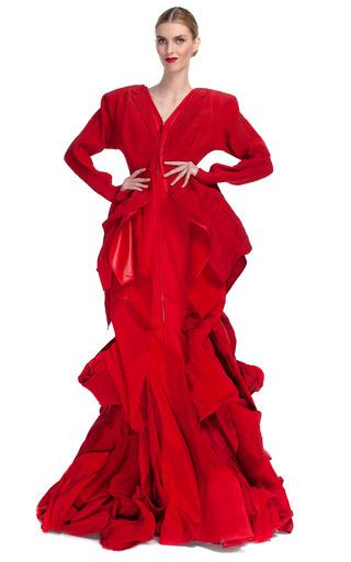 Medium thom browne red draped full length rose gathered gown
