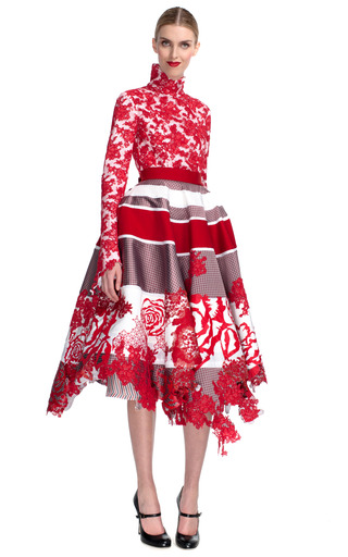 Medium thom browne red full panelled skirt with laser cut roses