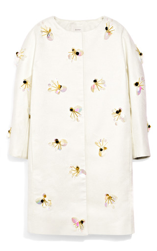 Medium delpozo white beaded collarless coat 2