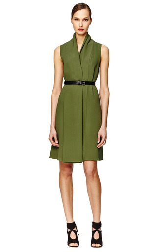 Fatigue Draped Sleeveless Dress With Black Belt by DEREK LAM Now Available on Moda Operandi
