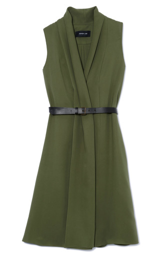 Fatigue Draped Sleeveless Dress With Black Belt by DEREK LAM Now Available on Moda Operandi