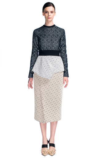 Medium proenza schouler black embroidered irregular lace long sleeve peplum dress
