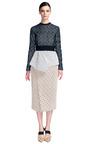 Embroidered Irregular Lace Long Sleeve Peplum Dress by PROENZA SCHOULER for Preorder on Moda Operandi