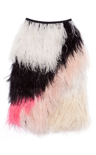 Medium proenza schouler pink embroidery feathers full skirt 2