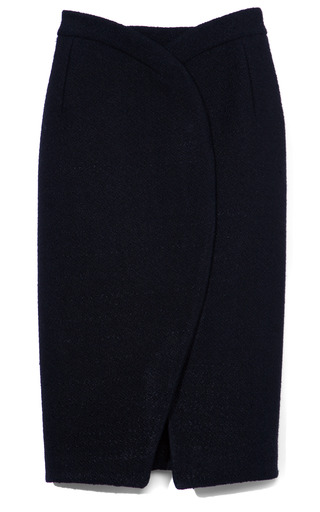 Medium proenza schouler black bonded boucle suiting curved hem pencil skirt 2