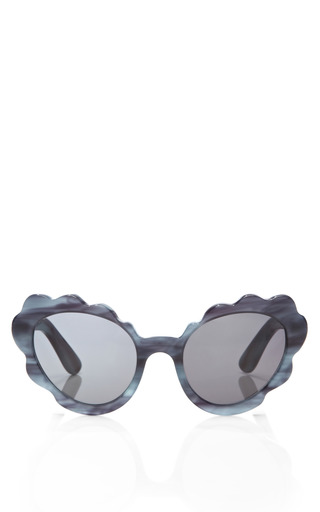 Medium opening ceremony off white flower cat eye sunglasses in blue indigo pearl 2