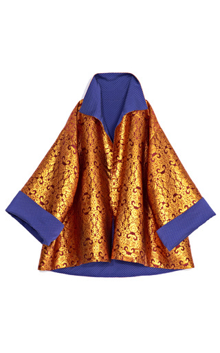 Medium wes gordon bronze damask brocade reversible opera clutch coat