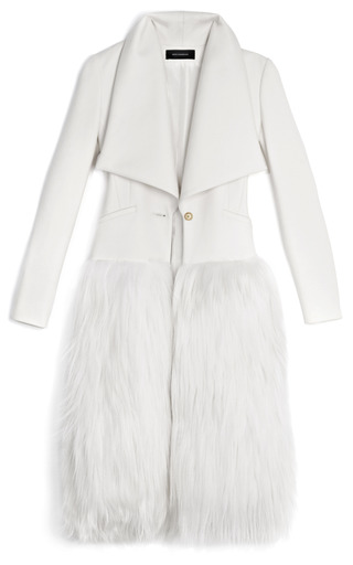 Medium wes gordon ivory compact fitted wool draped regent coat