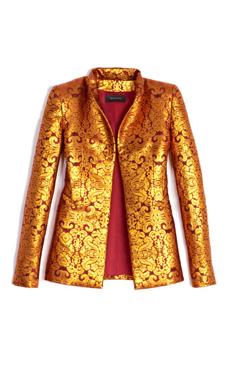 Damask Brocade Basquin Jacket by WES GORDON for Preorder on Moda Operandi