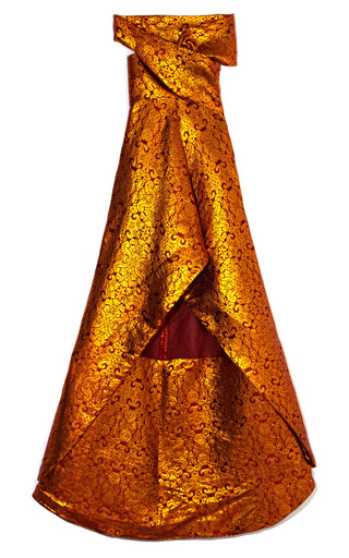 Medium wes gordon bronze damask brocade wrap top gown
