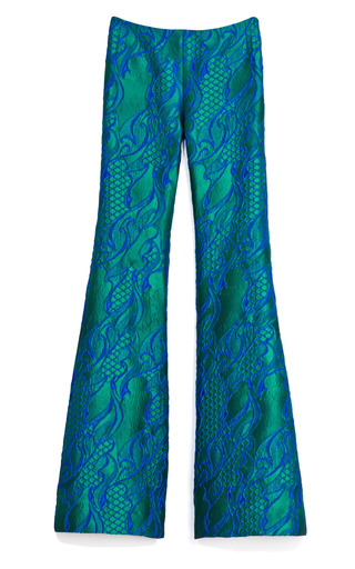 Medium wes gordon green filigree brocade flare pant 2