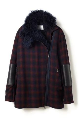 Medium 3 1 phillip lim navy shadow plaid wool twill asymmetric jacket with detachable shearling collar