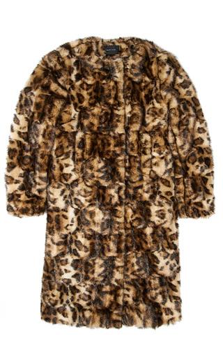 Medium simone rocha print leopard faux fur collarless coat