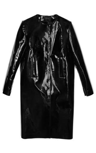 Medium simone rocha black heavy patent leather collarless coat