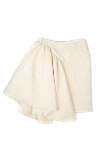 Medium simone rocha off white tweed sparkle asymmetric drape skirt