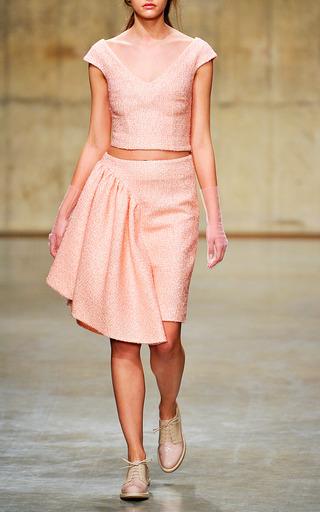 Medium simone rocha pink wool glitter off the shoulder top in pink