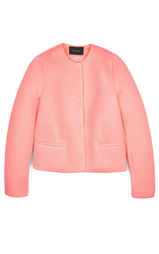 Medium simone rocha pink simone rocha knitted wafer mesh collarless jacket