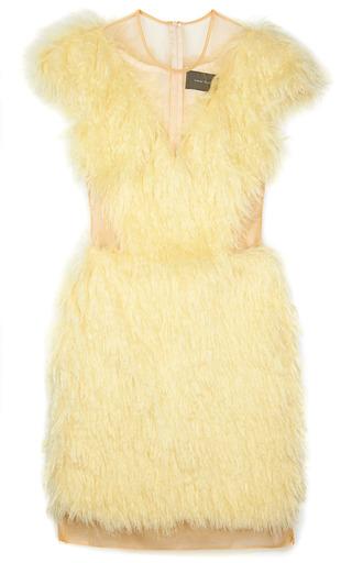 Medium simone rocha off white nylon tulle dress with full mohair fur overlay