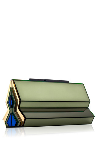 Medium rauwolf blue van eyck green shalimar clutch