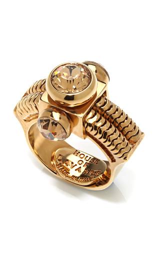 Medium house of lavande gold zelda triple stone cocktail ring