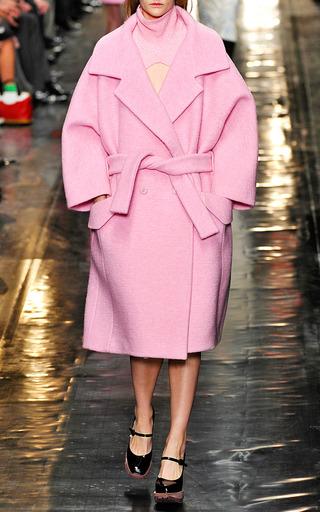 Medium carven pink nubby wool cropped turtleneck shrug in pink